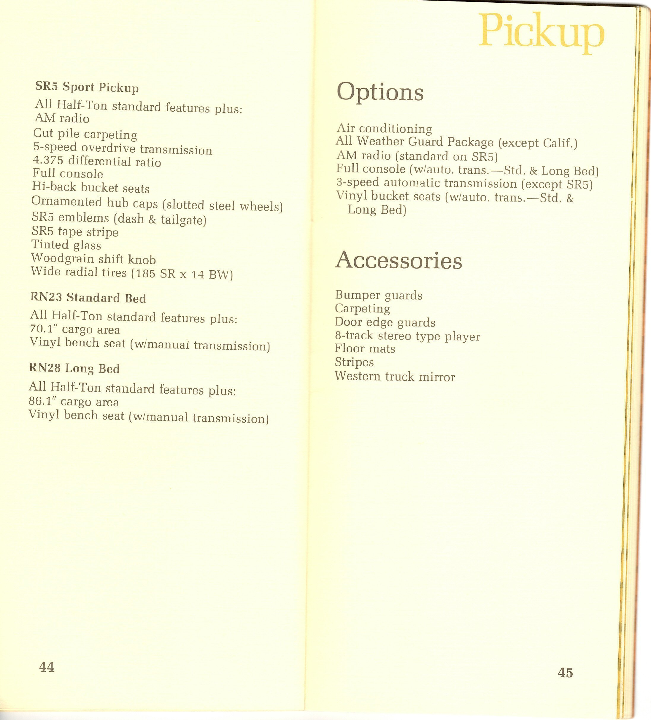 Page 44 & 45: FJ45 Specs