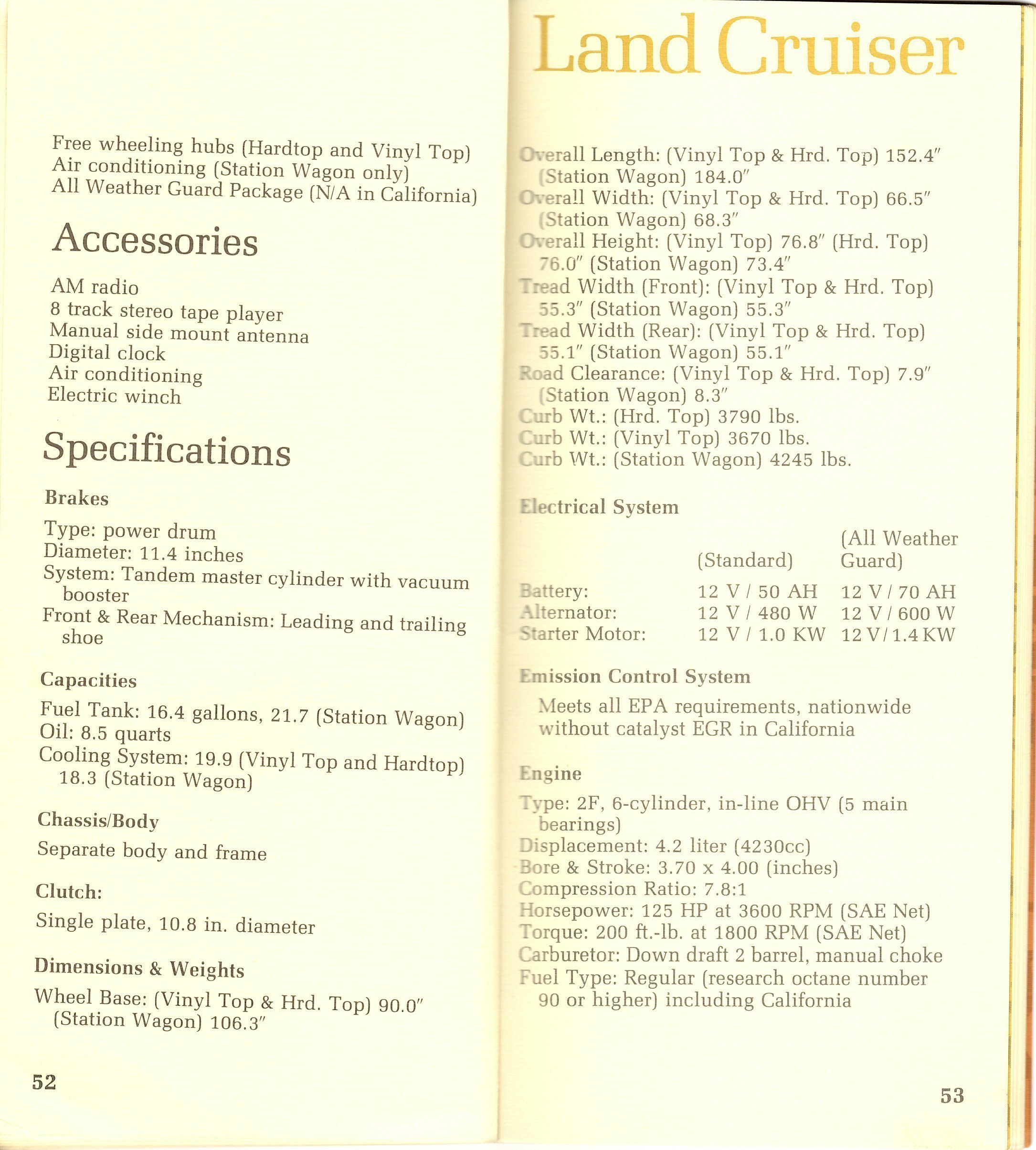 Page 52 & 53: FJ40 Specs
