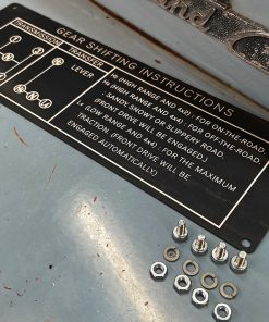 Reproduction Gear Shift Instructions from Red Line Land Cruisers